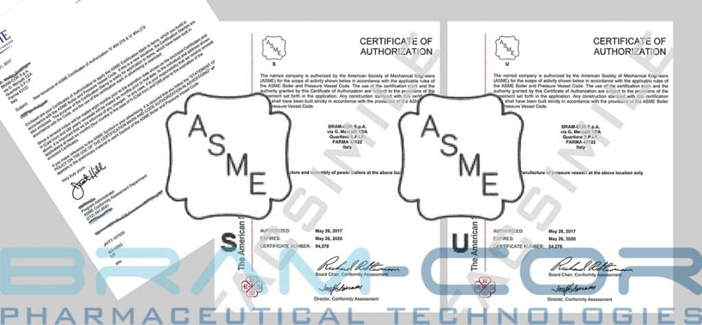 ASME BRAM-COR CERTIFICATES